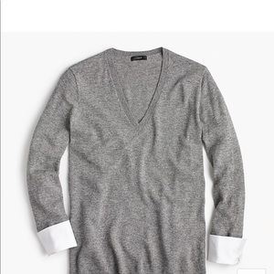 J. Crew v- neck sweater with shirt cuffs-Small